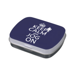 Rectangle Jelly Belly™ Candy Tin with Keep Calm and Jog On design