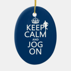 Oval Ornament with Keep Calm and Jog On design