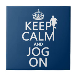 Small Ceremic Tile (4.25' x 4.25') with Keep Calm and Jog On design