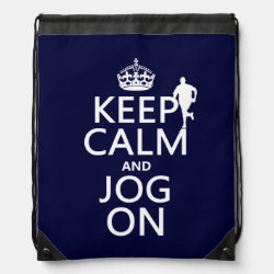 Drawstring Backpack with Keep Calm and Jog On design