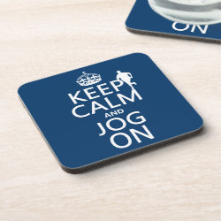 Beverage Coaster with Keep Calm and Jog On design
