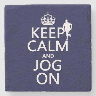 Keep Calm and Jog On Stone Coaster