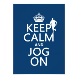 5.5' x 7.5' Invitation / Flat Card with Keep Calm and Jog On design