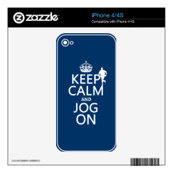 iPhone 4/4S Skin with Keep Calm and Jog On design