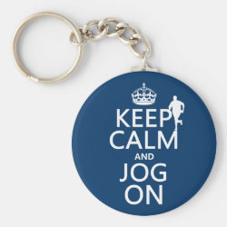 Basic Button Keychain with Keep Calm and Jog On design