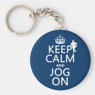 Keep Calm and Jog On Keychains