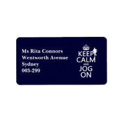 Address Label with Keep Calm and Jog On design