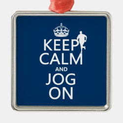 Premium Square Ornament with Keep Calm and Jog On design