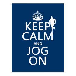 Postcard with Keep Calm and Jog On design