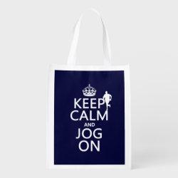 Reusable Grocery Bag with Keep Calm and Jog On design