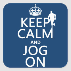 Square Sticker with Keep Calm and Jog On design