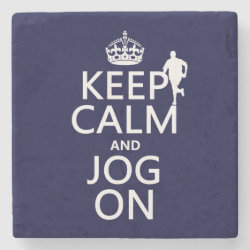 Marble Coaster with Keep Calm and Jog On design