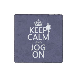 Marble Magnet with Keep Calm and Jog On design
