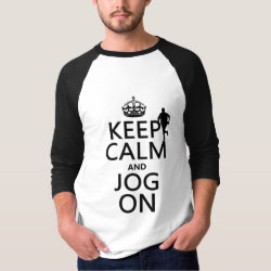 Men's Basic 3/4 Sleeve Raglan T-Shirt with Keep Calm and Jog On design