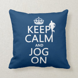 Cotton Throw Pillow with Keep Calm and Jog On design