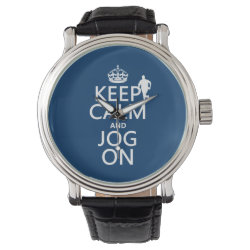 Men's Vintage Black Leather Strap Watch with Keep Calm and Jog On design