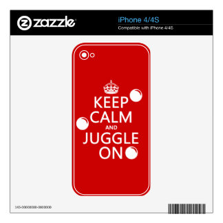Keep Calm and Juggle On (in any color) iPhone 4S Skins