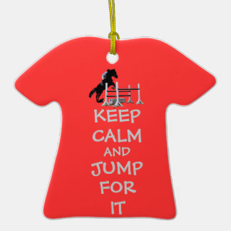 Keep Calm and Jump For It Horse Double-Sided T-Shirt Ceramic Christmas Ornament