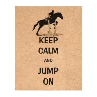 Keep Calm and Jump On Horse Cork Fabric