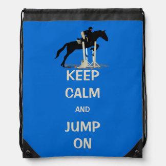 Keep Calm and Jump On Horse Drawstring Bag