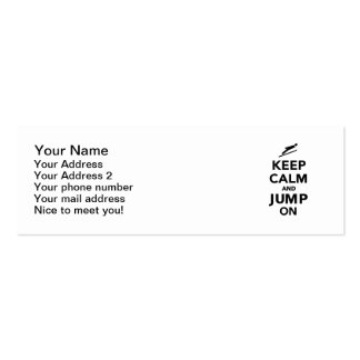 Keep calm and jump on mini business card