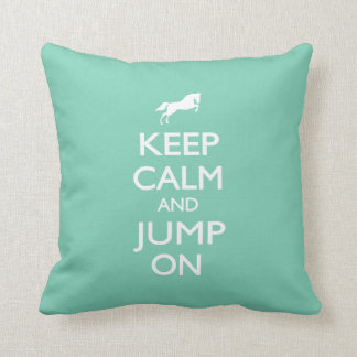 Keep Calm and Jump On Throw Pillows