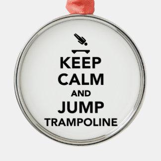 Keep calm and jump trampoline metal ornament
