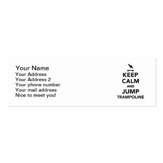 Keep calm and jump trampoline mini business card