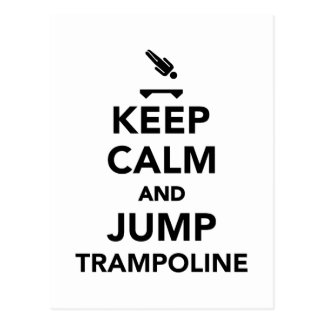 Keep calm and jump trampoline postcard