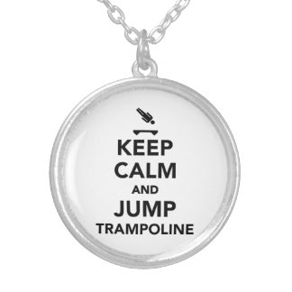 Keep calm and jump trampoline round pendant necklace