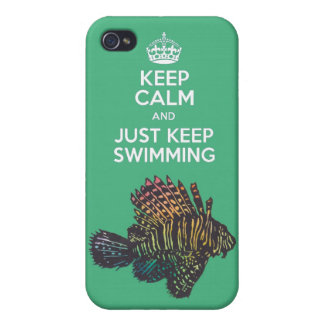 keep calm and just keep swimming iphone 4 case
