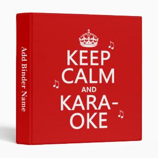 Keep Calm and Karaoke (customize color) 3 Ring Binder