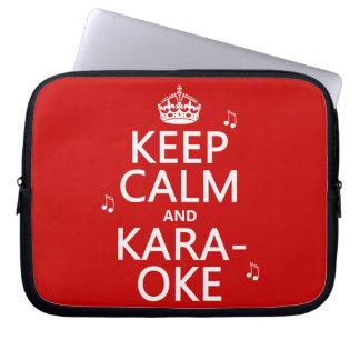 Keep Calm and Karaoke (customize color) Computer Sleeve