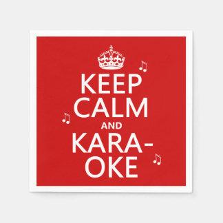 Keep Calm and Karaoke (customize color) Standard Cocktail Napkin