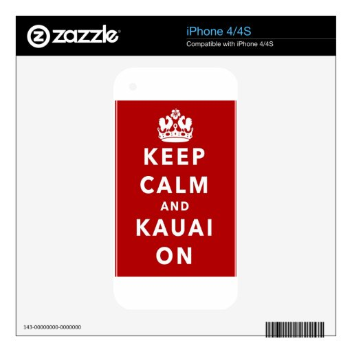 Keep Calm and Kauai On Decal For The iPhone 4