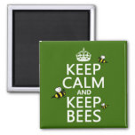 Keep Calm and Keep Bees - all colours 2 Inch Square Magnet