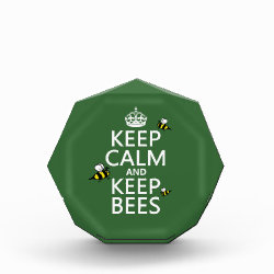 Small Acrylic Octagon Award with Keep Calm and Keep Bees design