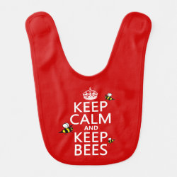 Baby Bib with Keep Calm and Keep Bees design