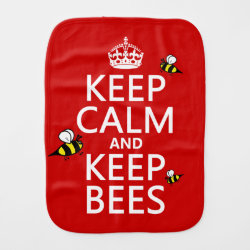 Burp Cloth with Keep Calm and Keep Bees design