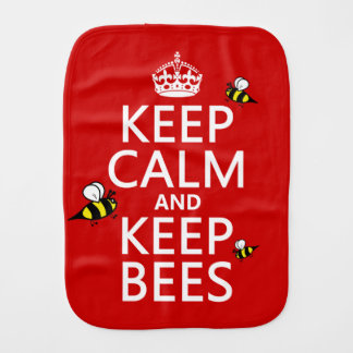 Keep Calm and Keep Bees - all colours Baby Burp Cloth
