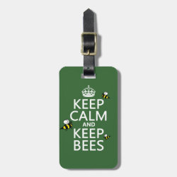 Small Luggage Tag with leather strap with Keep Calm and Keep Bees design