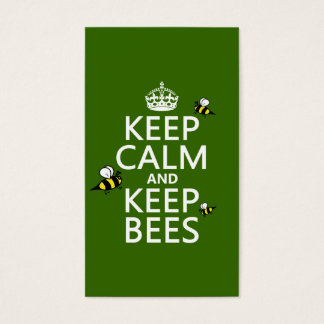 Keep Calm and Keep Bees - all colours Business Card