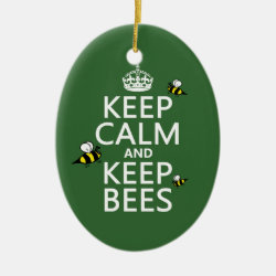 Oval Ornament with Keep Calm and Keep Bees design