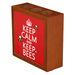 Desk Organizer with Keep Calm and Keep Bees design