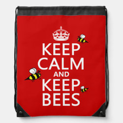 Drawstring Backpack with Keep Calm and Keep Bees design
