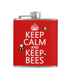 Vinyl Wrapped Flask, 6 oz. with Keep Calm and Keep Bees design
