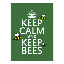 5.5' x 7.5' Invitation / Flat Card with Keep Calm and Keep Bees design