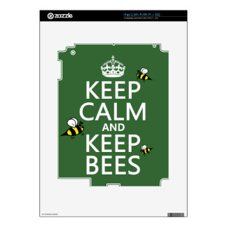 Keep Calm and Keep Bees - all colours iPad 2 Decals