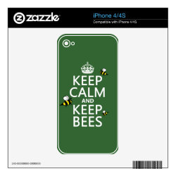 iPhone 4/4S Skin with Keep Calm and Keep Bees design