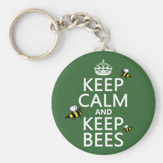 Keep Calm and Keep Bees - all colours Basic Round Button Keychain